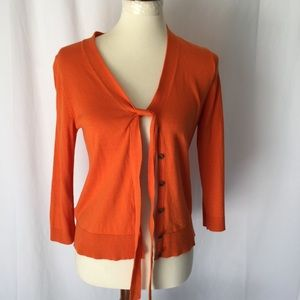 Ann Taylor loft orange cardigan sweater size S